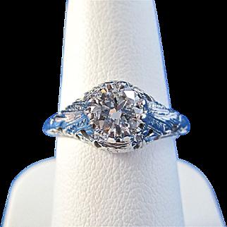 Vintage Estate Art Deco Engagement Wedding Day Birthstone Anniversary Diamond Ring 18K White Gold