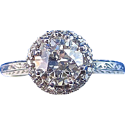 Art Deco Vintage 1920's Tacori Diamond Halo Engagement Wedding Birthstone Anniversary Ring 18K White Gold