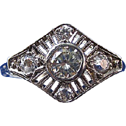 Art Deco Vintage Old European Cut VS1 Diamond Engagement Wedding Day Birthstone Ring Platinum