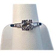 Vintage Estate 1950's Diamond Engagement Birthstone Ring 14K White Gold Platinum