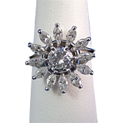 Vintage Estate Jabel Diamond Engagement Wedding Day Birthstone Anniversary Ring 18K White Gold