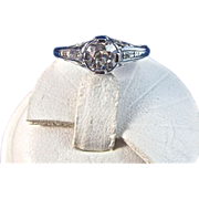 Antique Edwardian 1905 Old European Cut Diamond Engagement Wedding Day Birthstone Anniversary Ring Platinum