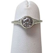 Estate Vintage Solitaire Art Deco Engagement Wedding Day Birthstone Anniversary Old European Cut Diamond Ring 14K White Gold