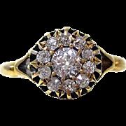 Antique Edwardian 1901 Diamond Engagement Wedding Halo Ring 14K