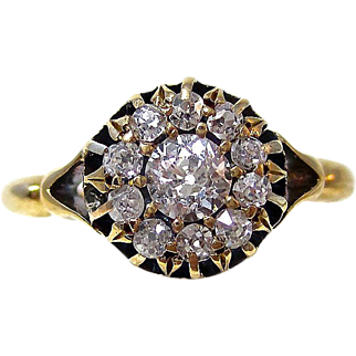 Antique Edwardian 1901 Diamond Engagement Wedding Halo Ring 14K