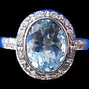 Vintage Estate 1960's Aquamarine & Diamond Bailey, Banks & Biddle Halo Engagement Birthstone Ring 14K