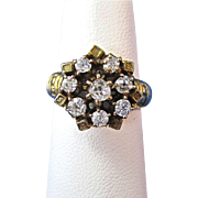 Antique Victorian 1890's Old European Cut Diamond Engagement Wedding Day Birthstone Anniversary Ring 14K Yellow Gold