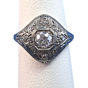 Vintage Estate Art Deco Diamond Engagement Birthstone Anniversary Ring 18K White Gold