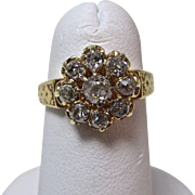 Antique Victorian Old Mine Cut Diamond Engagement Wedding Birthstone Cluster Ring 14K Yellow gold