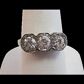 Vintage Estate Art Deco Old European Cut Diamond Engagement Anniversary Birthstone Ring 14K White Gold