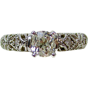 Vintage Estate Old Mine Cut Diamond Engagement Wedding Birthstone Ring 14K