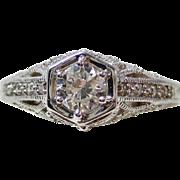 Vintage Estate Old European Cut Diamond Engagement Wedding Anniversary Ring 14K
