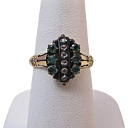 Adorable Antique Victorian Emerald & Diamond Ring 14K