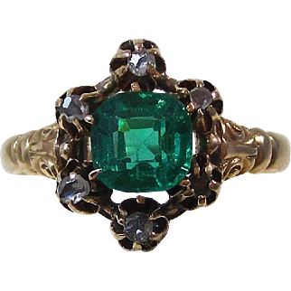 Antique Victorian 1890's Garnet Engagement Ring