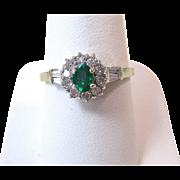 Vintage Estate 1970's Engagement Wedding Birthstone Emerald & Diamond Halo Ring 14K