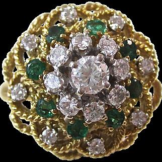 Stunning Emerald & Diamond Vintage Engagement Ring 18K