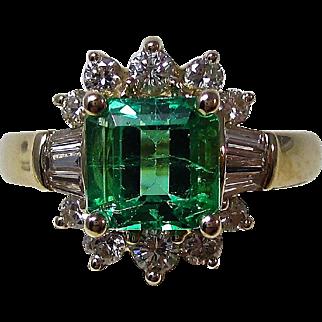 Vintage Estate 1980's Emerald & Diamond Engagement Birthstone Wedding Ring 14K