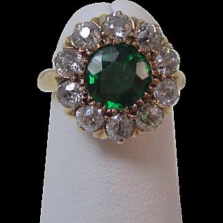 Vintage Estate Garnet & Diamond Art Deco Halo Engagement, Birthstone, Anniversary Ring 14K
