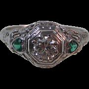 Vintage Estate Art Deco Diamond & Emerald Engagement Wedding Day Birthstone Anniversary Ring 18K White Gold