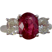 Vintage Estate 3 Stone Engagement Birthstone Anniversary Ruby Diamond Ring 18K White Gold