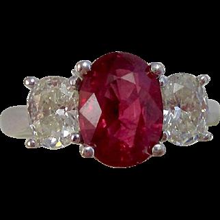 Vintage Estate 3 Stone Engagement Birthstone Anniversary Ruby Diamond Ring 18K White Gold