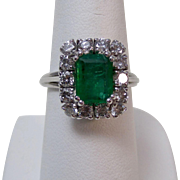 Vintage Estate Natural Emerald & Diamond Engagement Birthstone Wedding Ring Platinum