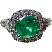 Vintage Estate Columbian Emerald & Diamond Engagement Wedding Birthstone Anniversary Ring 14K