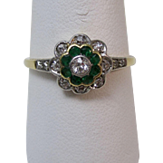 Vintage Estate Natural Emerald & Old European Cut Diamond Floral Engagement Birthstone Anniversary Ring 14K
