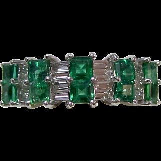 Vintage Estate Natural Emerald & Diamond Wedding Anniversary Birthstone Ring 18K