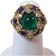 Vintage Estate 1960's Emerald Sapphire Diamond Engagement Wedding Anniversary Birthstone Ring 14K