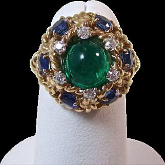 Vintage Estate 1960's Emerald Sapphire Diamond Engagement Wedding Anniversary Birthstone Ring 14K