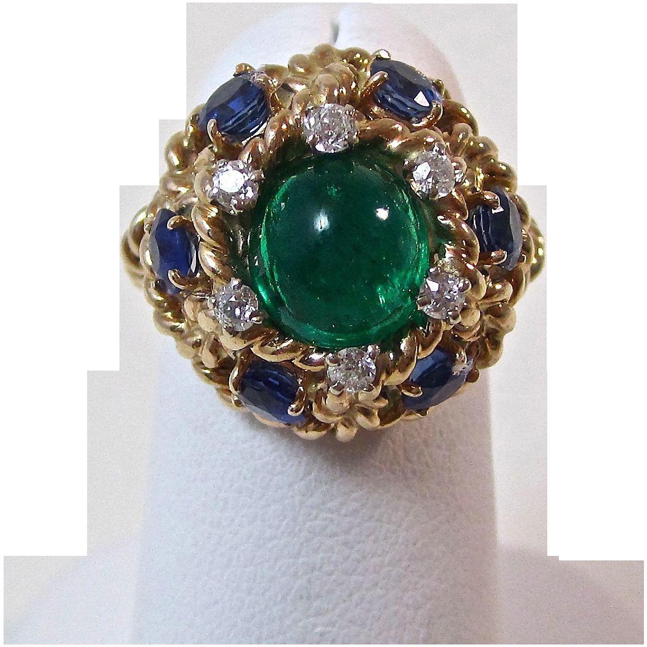 vintage estate 1960s emerald sapphire diamond engagement