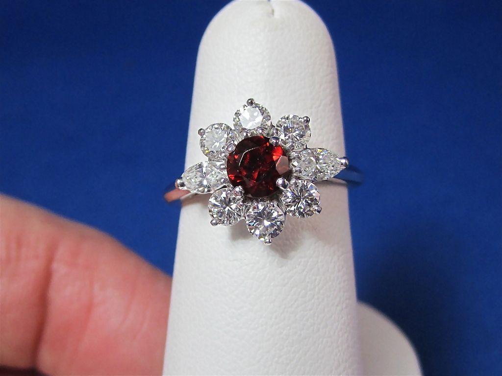 Perfect Garnet Diamond Estate Halo Ring 14k Mayfair Antique Jewelry Ruby Lane