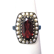 Vintage Estate 1940's-1950's Garnet & Seed Pearl Engagement Wedding Birthstone Ring 14K