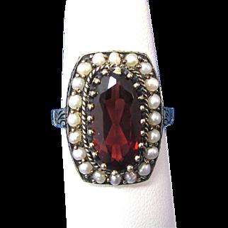 Vintage Estate 1940's-1950's Garnet & Seed Pearl Ring 14K