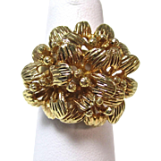 Vintage Floral Yellow Gold Cocktail Ring 18K