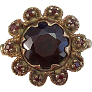 Vintage Estate 1940's Birthstone Anniversary Engagement 5.38 Carat Natural Almandine Garnet Ring 14K