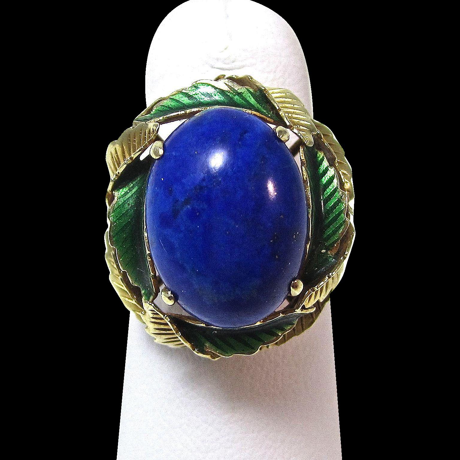 Vintage Estate 1950's Lapis Lazuli Enamel Cocktail Ring 14K