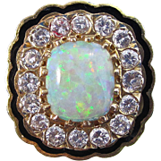 Vintage Estate 1950's Opal & Diamond Engagement Wedding Birthstone Ring 14K