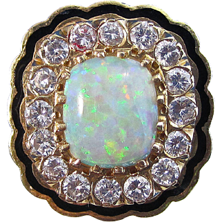 Vintage Estate 1950's Opal & Diamond Engagement Wedding Birthstone Ring 14K Yellow Gold