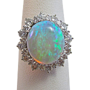 Vintage Estate Opal & Diamond 1980's Halo Birthstone Anniversary Wedding Ring 14K White Gold
