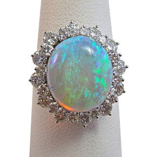 Natural Opal & Diamond 1980's Halo Birthstone Anniversary Wedding Estate Ring 14K White Gold