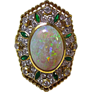 Vintage Estate Opal, Emerald, Diamond Engagement Wedding Birthstone Dinner Ring 21K