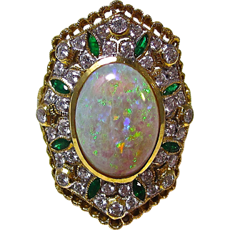 Vintage Estate Opal, Emerald, Diamond Engagement Wedding Birthstone Dinner Ring 21K