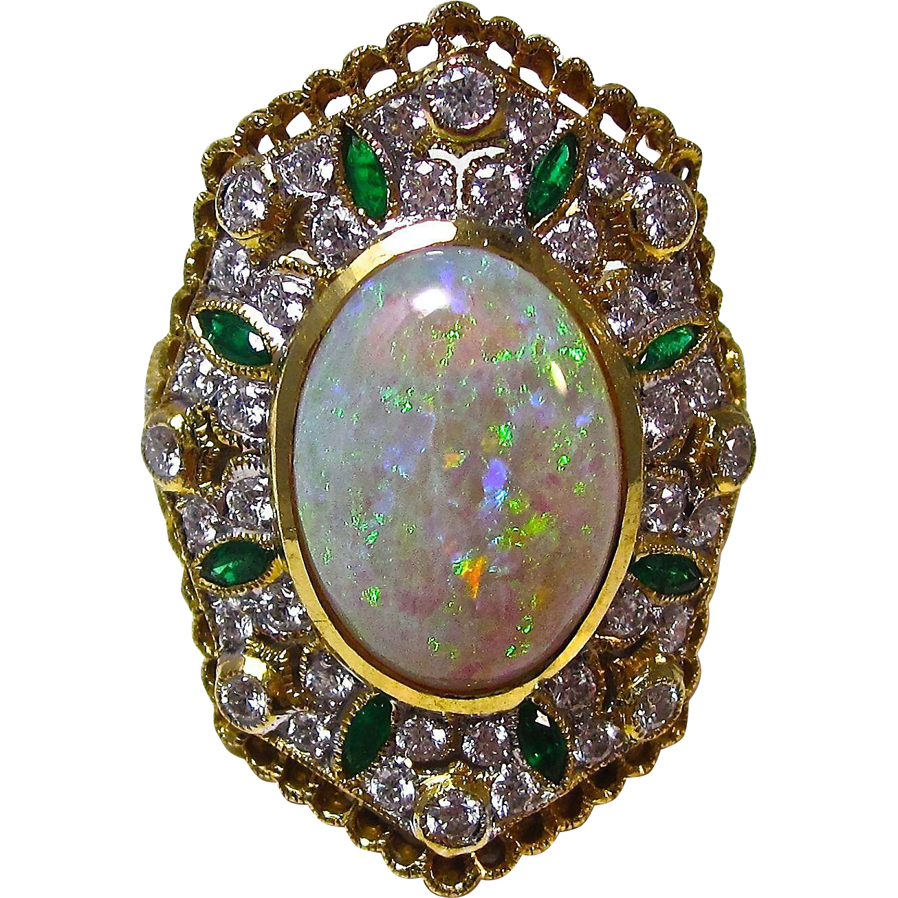 vintage estate opal emerald diamond engagement wedding