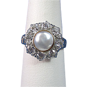 Vintage Estate 1940's Cultured Pearl & Diamond Engagement Wedding Day Birthstone Anniversary Halo Ring 14K Yellow & White Gold