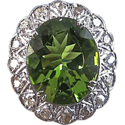 Stunning 5.58 Peridot & Diamond Art Deco Vintage Halo Ring Platinum