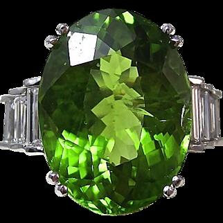 Outstanding 7.69 Peridot & Diamond Platinum Vintage Ring