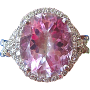 Vintage Estate 1960's 6.32 Pink Topaz & Diamond Halo Engagement Wedding Day Birthstone Ring 14K White Gold