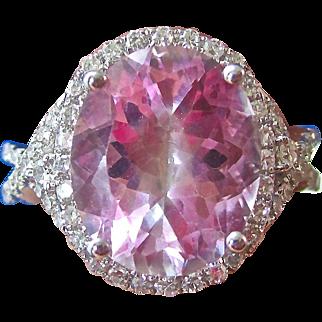 Passionate 6.32 Pink Topaz & Diamond Vintage Halo Ring 14K